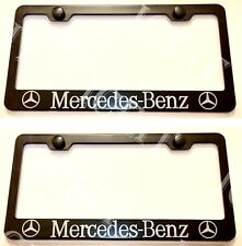 2X Mercedes Benz Stainless Steel Black License Plate Frame Rust Free W/ Caps