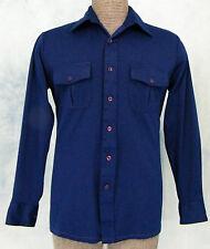 ViNTAGE 70s LUCiEN PiCCARD ReTrO MOD BLUE DiSCO PiMP LEiSURE SUiT SAFARi SHiRT M