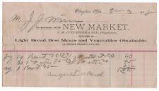 1908 Billhead, NEW MARKET, Light Bread, Meats, Vegetables, Clayton, Alabama