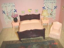 New Listing5 Piece Grouping 1950's Jaydon Pink Dollhouse Bedroom Furniture W/Lamp