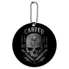 Carved One Shot Kill USA Flag Skull Tactical Round Luggage Card Carry-On ID Tag