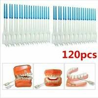 120Pcs Double Head Toothpick Interdental Brush Dental Floss Teeth Oral Clean