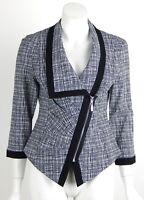 Joseph Ribkoff Jacket White Black Asymmetric Zip Front 3/4 Sleeves Size 8 New