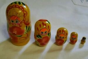 Handmade Hand Painted Nesting Dolls Set 5 In 1. Main Color Yellow.