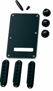Fender Back Plate, Pick-up Covers, Vol Tone Knobs ,Trem / Switch Tips - Black