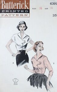Vtg 1950s Butterick 6397 Button Tab Front Blouse Top SEWING PATTERN 18