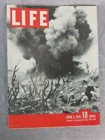 Life Magazine April 9 1945 Iwo Jima Explosion & Soliders Cover w/ WW2 Print Ads