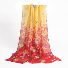 destockage foulard écharpe neuf mousseline de soie papillons jaune rouge