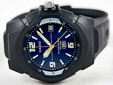 Casio MW-600F-2AV Analog Watch Blue 10 Year Battery Glows Display with Date New
