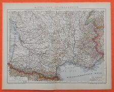 Mittel - und Südfrankreich Bordeaux Lyon  historische Landkarte 1897 map