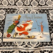 Vintage Greeting Card Christmas Golfing Snowshoes Sports Santa Claus