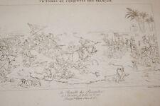 GRAVURE SUR CUIVRE NAPOLEON BATAILLE DES PYRAMIDES EGYPTE 1822 TARDIEU VINCENT