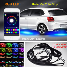 4x Auto Car Underglow RGB LED Lights Lamp Sound Active Strip + Phone App Control