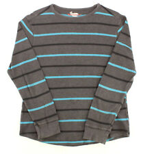 BLIND ROOSTER Gray Blue Striped Long Sleeve Waffle Thermal Shirt Youth Boys XL