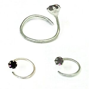 Twister Nose Stud Pin Sterling Silver Claw Gemstone Crystal Studs 2X
