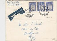 Switzerland 1963 Basel Double Cancel Three Stamps Cover Airmail to USA Ref 23417