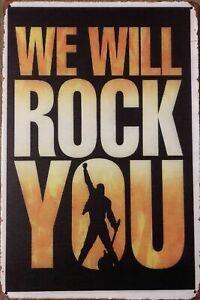 MUSIC ROCK YOU Rustic Metal Tin Sign. Vintage Rustic Garage,  Bar & Man Cave