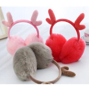 Girl Winter Christmas Deer Design Plush Earmuffs Ear Warmers Cute Fluffy Ear Cap