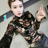 Lady Velvet Pullover Turtle Neck Floral Striped Slim Stretch T Shirt Top Blouse