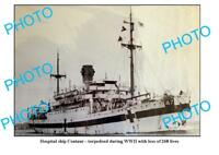OLD LARGE PHOTO HOSPITAL SHIP CENTAUR TORPEDOED IN WWII