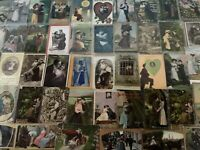 Huge Lot of~Romantic~Vintage Antique~ Postcards -Men Ladies-People-Romance-a666