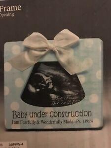 Baby Under Construction Ultrasound Photo Frame Blue Frame - Psalm 139:14