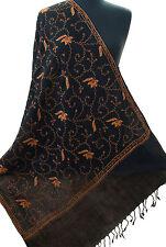 Hand-Embroidered Black Wool Shawl Kashmiri Sozni Stitch Pashmina Style Gold Tone