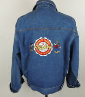 Mickey & Co. Mens M Mickey Mouse Disney Jean Jacket Pluto Varsity League Patch