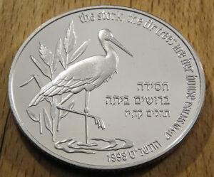 Israel - 2 New Sheqalim - 1998 - Silber PP - Zypresen / Storch