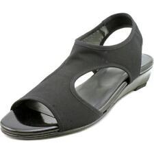 Sandalias y chanclas de mujer de tacón medio (2,5-7,5 cm) de color principal negro de lona