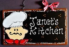 Fat Chef Personalize Kitchen Name Sign Wall Hanger Plaque Cucina Bistro Decor
