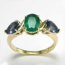 X' design Emerald and Sapphire Three-Stone Ring 14k Y/G 4 to 9.5 #R736