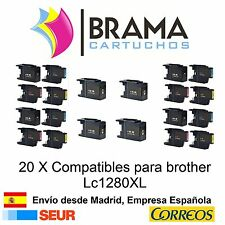 20 x compatibles Brother Non Oem LC1280XL Lc1280Bk Lc1280C lc1280M Lc1280Y