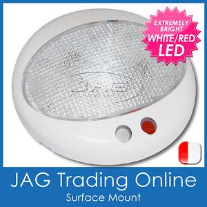 EURO WHITE/RED LED CABIN LIGHT - Boat/Caravan/RV/4x4/Door/Reading/Interior Lamp