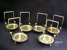 (6) Tea Cup & And Saucer Stand Display Easels Brass Etched Base