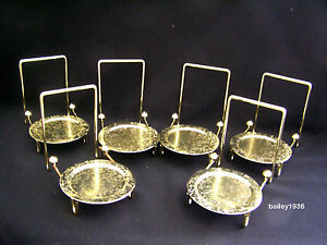 (6) Tea Cup & And Saucer Stand Display Easel Brass Etched Base Tripar