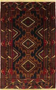 Rugstc 4x6 Caucasian Design Blue  Rug, Hand-Knotted,Tribal Balochi with Wool