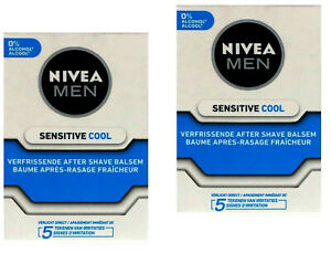 2x Nivea Men Sensitive Cool After Shave Balsam, Gesichtspflege 0% Alkohol 100ml