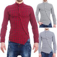 Camicia uomo scozzese quadri slim fit manica lunga bottoni sbieco nuova CQ261