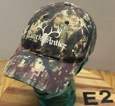 NICE BLACK ANTLER APPAREL CAMO HUNTING HAT EMBROIDERED ADJUSTABLE VGC E2