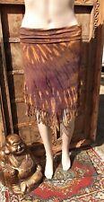 L@@K! FREESIZE- SZ10/12/14/16 TIEDYE SPANDEX FRINGED BOHO HIPPY GYPSY SKIRT-V27