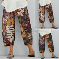 Women Summer Casual Baggy Wide Legs Long Pants Cotton Chino Cropped Trousers NEW