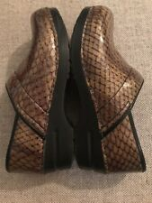 Sanita Green/Black Patent Leather Snake Print Professional Clogs Size 38