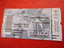 BILLET BOAVISTA portugal v FC NANTES france 2001 football uefa CL ticket