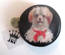 Jessica Kagan Cushman Maltese Dog Round Jewelry Pouch Change Coin Purse JKC