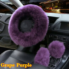 3Pcs Grape Purple Fur Wool Furry Fluffy Thick Car Steering Wheel Cover Winter