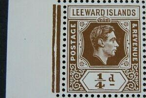 LEEWARD ISLANDS 1938-51 SG95a. KGVI ¼d.DEEP BROWN -  MNH