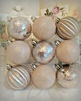 Shabby Cottage Chic Blush Rose Pink Glitter Christmas Tree Ornaments Set Of 9