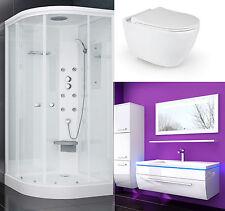 Duschkabine 90x90 WC Sitz Absenkautomatik Wand Hänge WC Keramik Badmöbel set █▬█