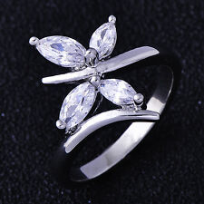 NICE Women White Gold Filled Cubic Zirconia Butterfly Flower Ring SZ 7.5